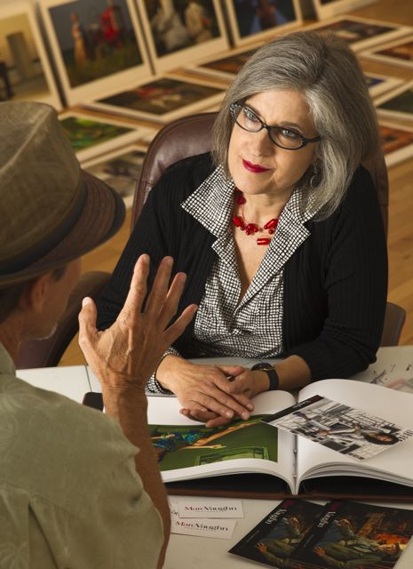 Carolyn Potts doing a portfolio review
